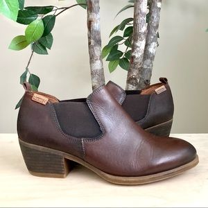 🆕Pikolinos Brown Leather Low Heel Booties Size 40